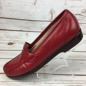 SAS Red Leather Comfort Loafers Shoes 7N 7 Narrow
